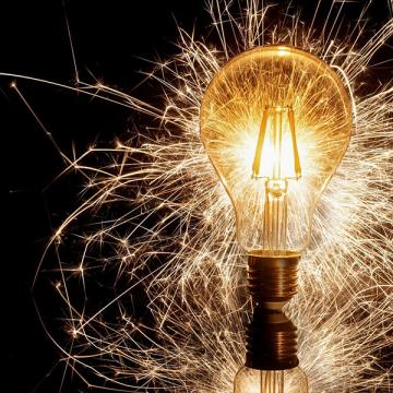 Photo of sparkling light bulb