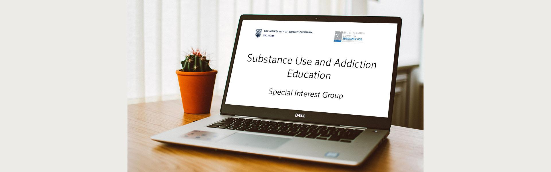 Photo of computer showing substance use and addiction education special interest group